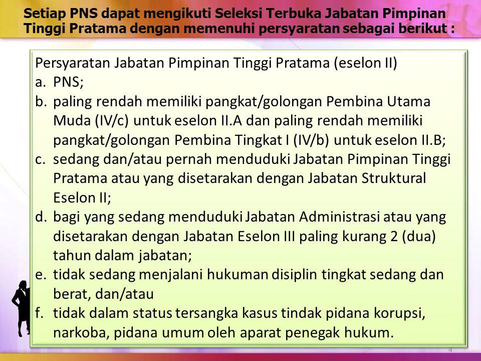 Persyaratan Jabatan Pimpinan Tinggi Pratama (eselon II) PNS;