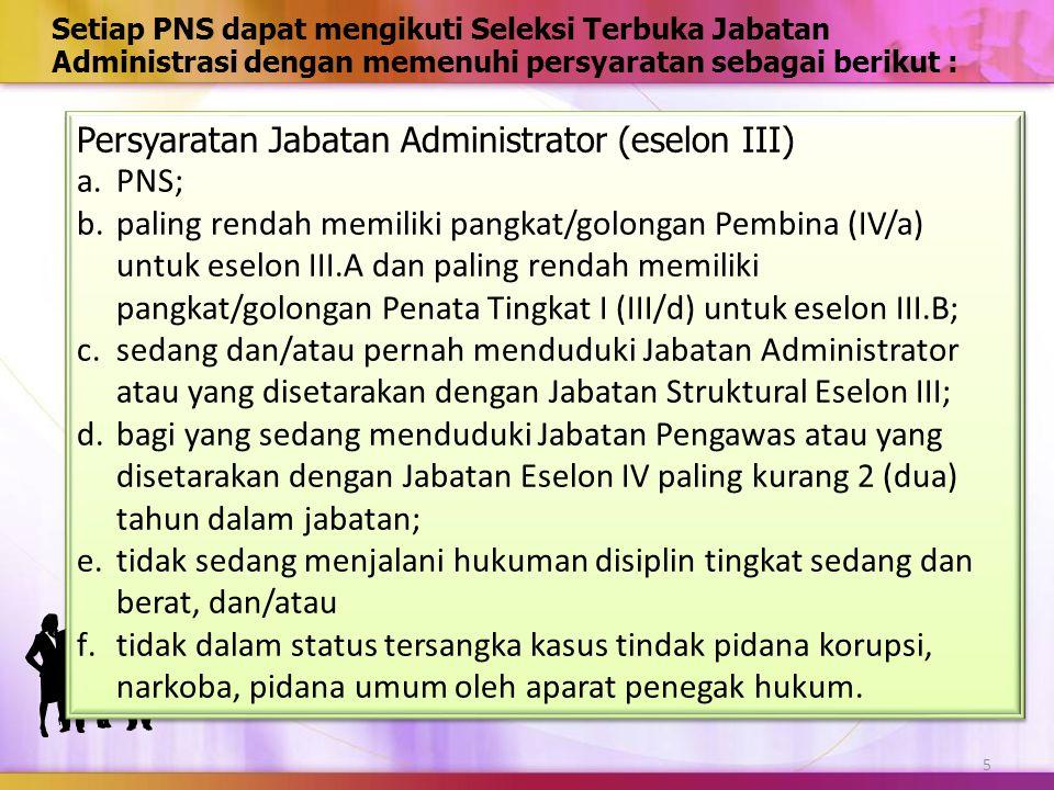 Persyaratan Jabatan Administrator (eselon III) PNS;