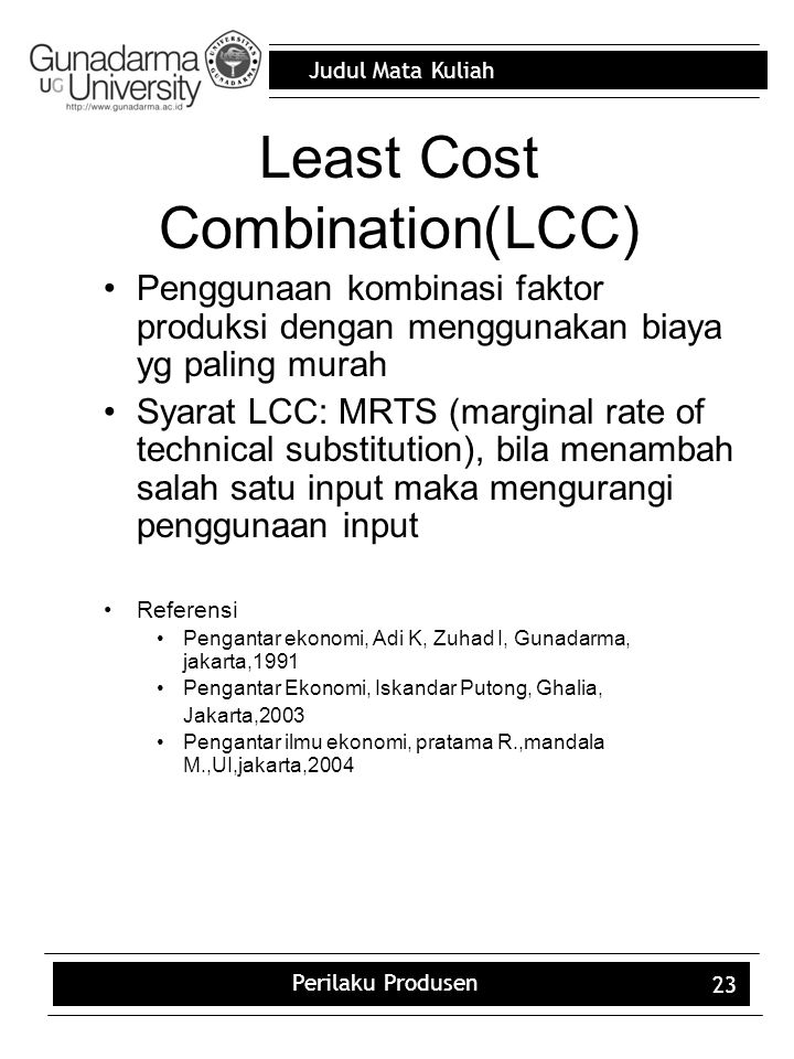 Least Cost Combination(LCC)