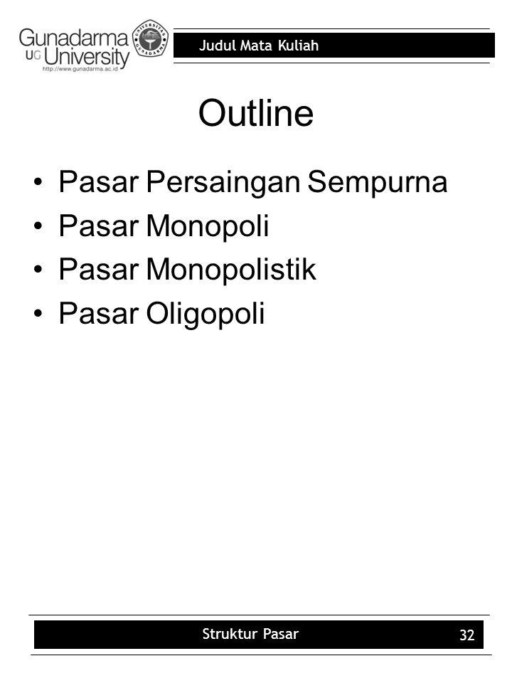 Outline Pasar Persaingan Sempurna Pasar Monopoli Pasar Monopolistik