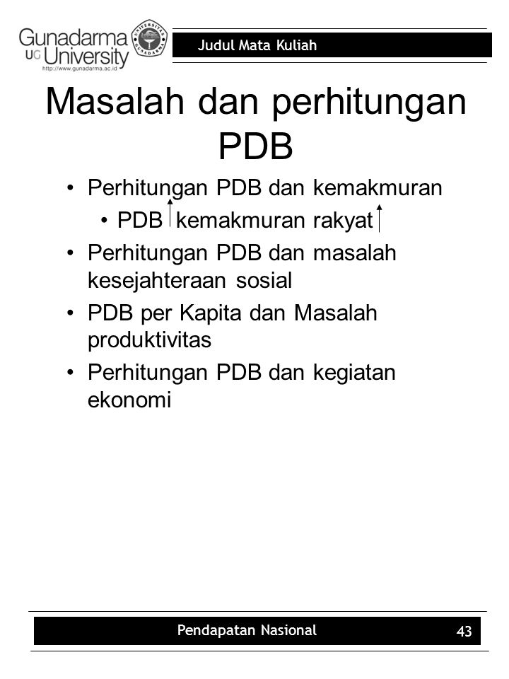 Masalah dan perhitungan PDB