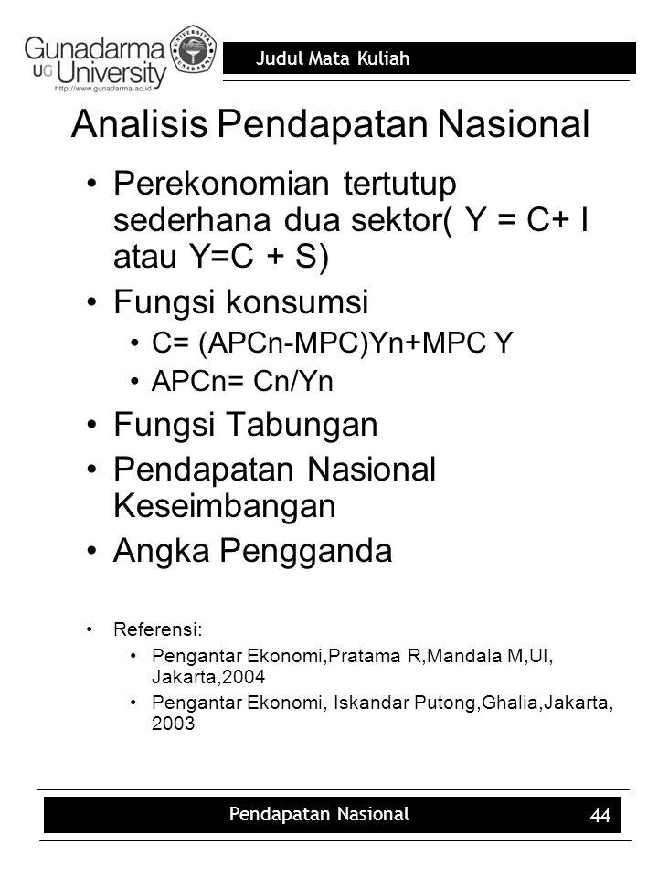 Analisis Pendapatan Nasional