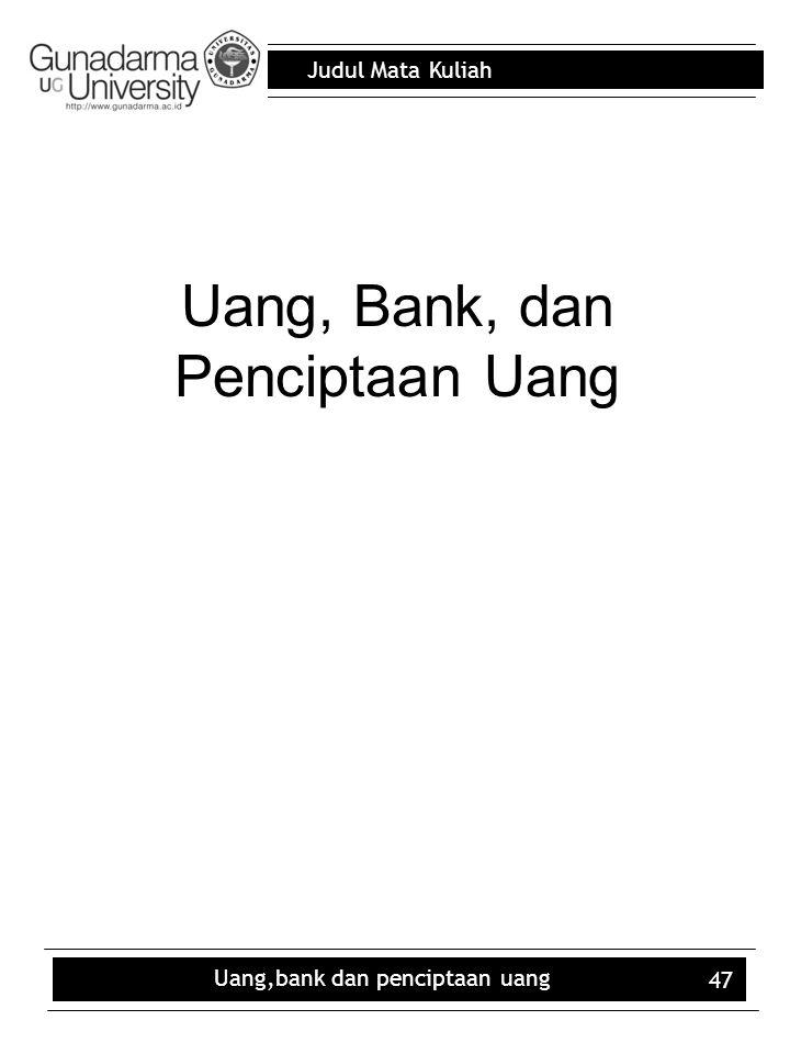 Uang, Bank, dan Penciptaan Uang