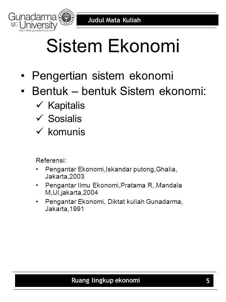Sistem Ekonomi Pengertian sistem ekonomi