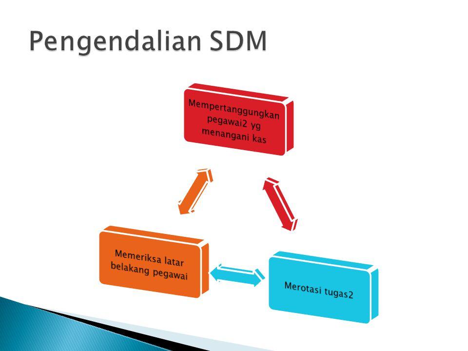 Pengendalian SDM Mempertanggungkan pegawai2 yg menangani kas