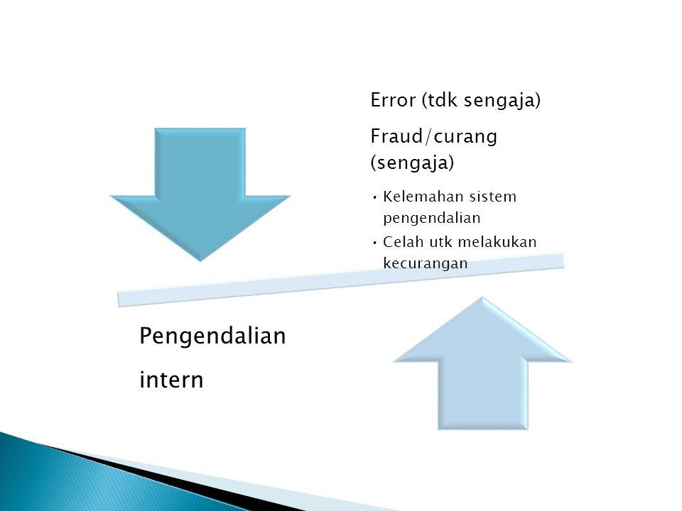 Pengendalian intern Error (tdk sengaja) Fraud/curang (sengaja)