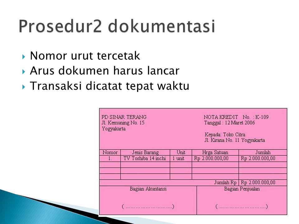 Prosedur2 dokumentasi Nomor urut tercetak Arus dokumen harus lancar