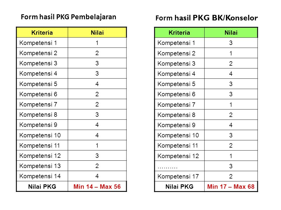Form hasil PKG Pembelajaran Form hasil PKG BK/Konselor