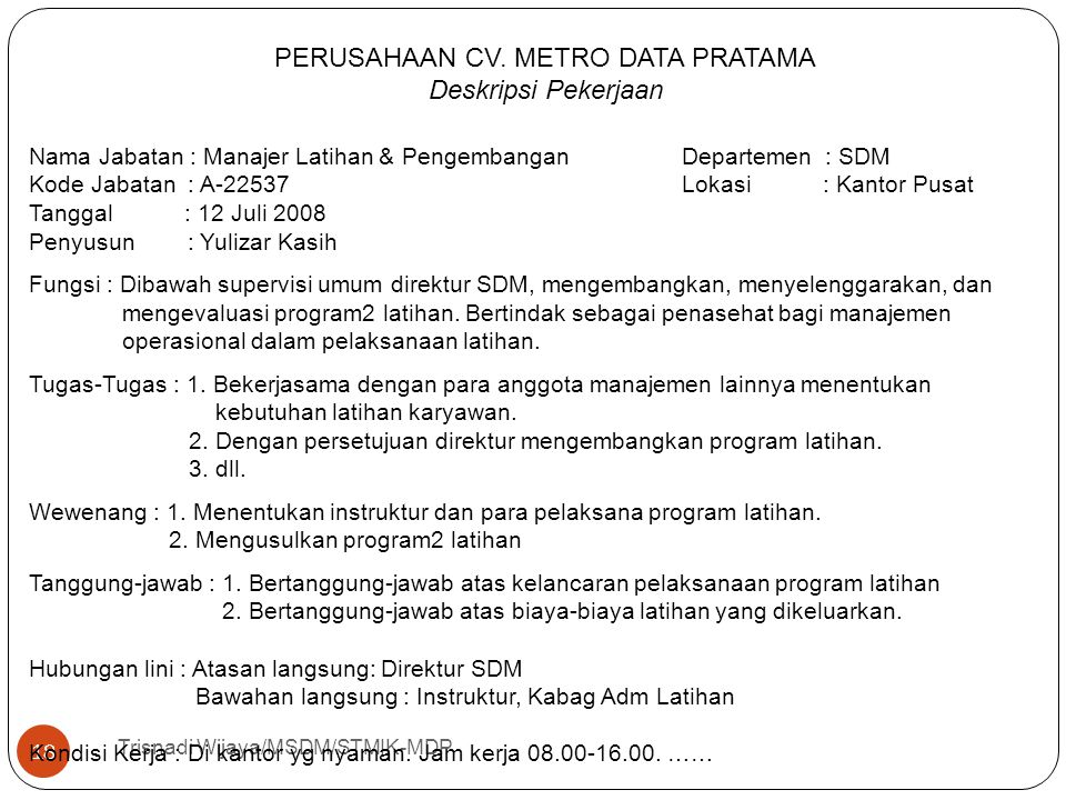 PERUSAHAAN CV. METRO DATA PRATAMA
