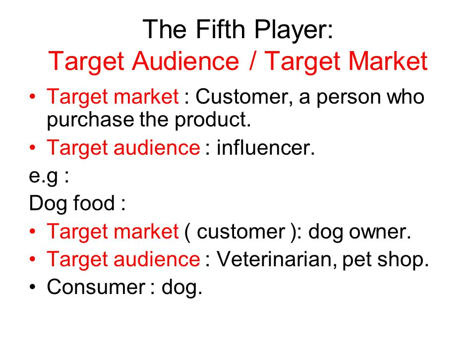 The Fifth Player: Target Audience / Target Market