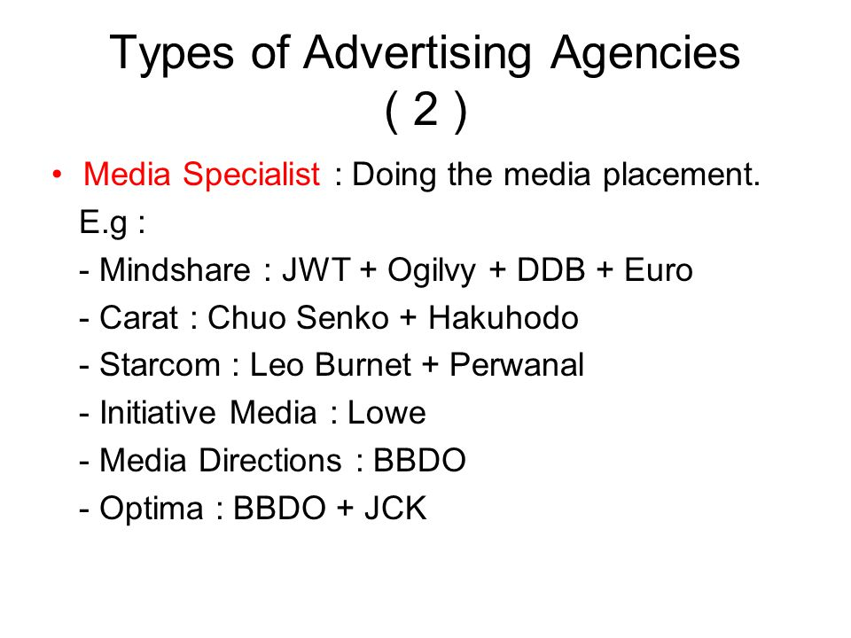 Types of Advertising Agencies ( 2 )