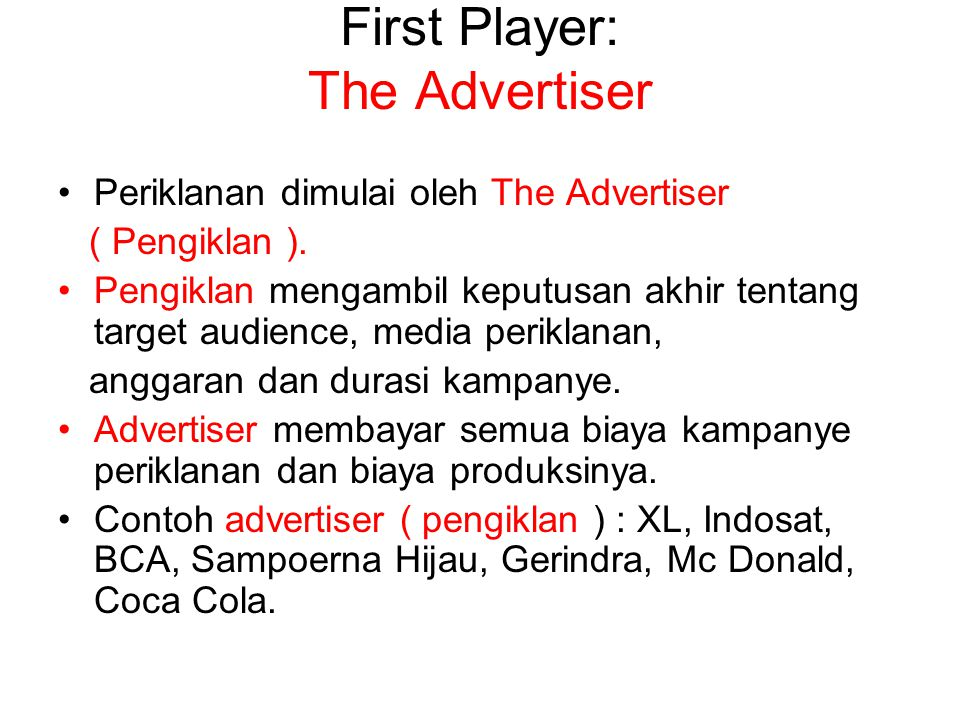 First Player: The Advertiser