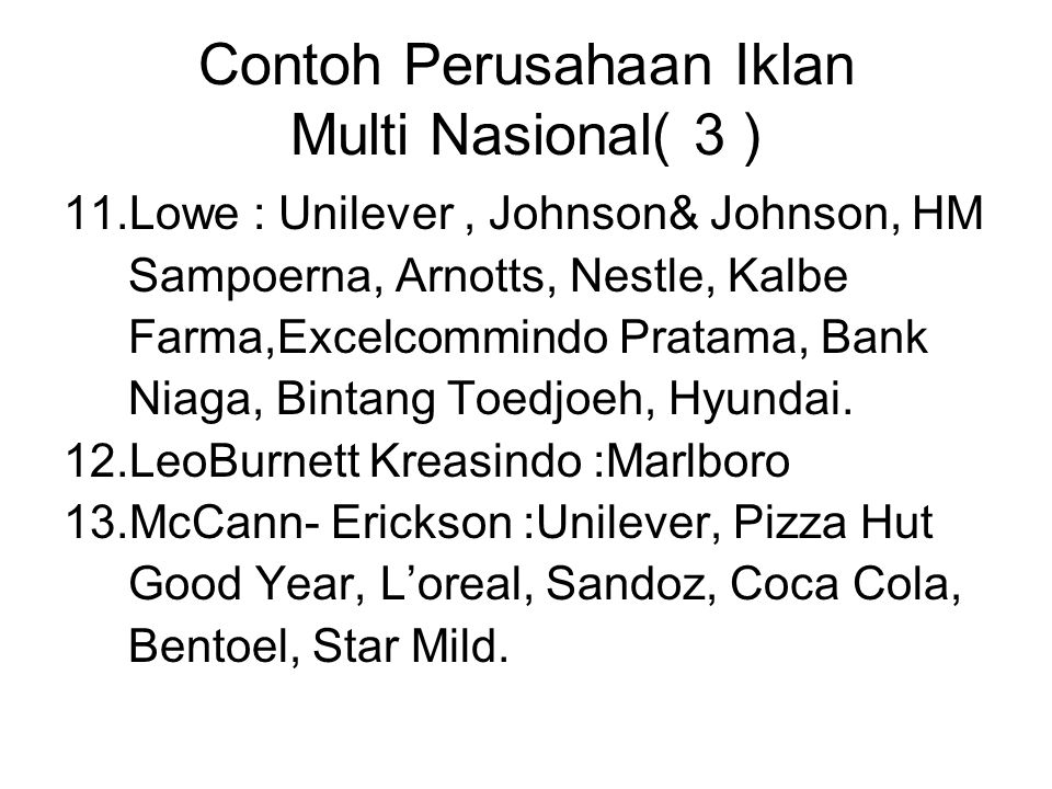 Contoh Perusahaan Iklan Multi Nasional( 3 )