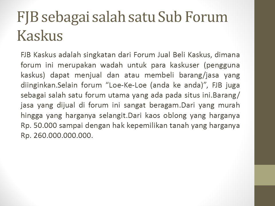 FJB sebagai salah satu Sub Forum Kaskus
