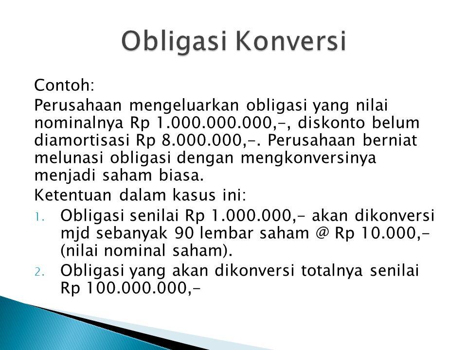 Obligasi Konversi Contoh: