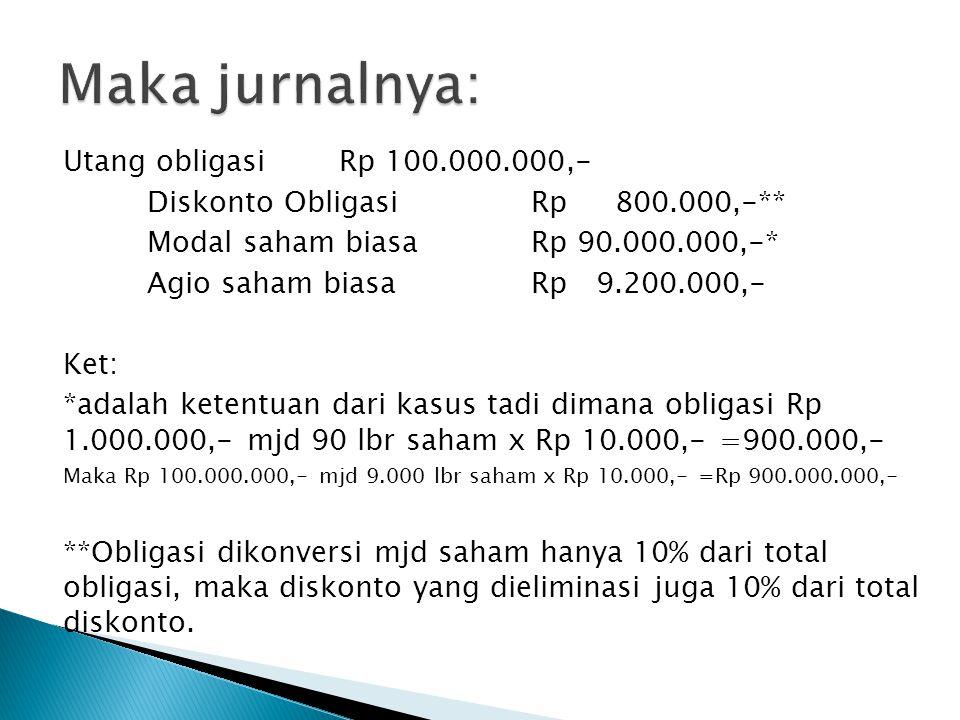 Maka jurnalnya: Utang obligasi Rp 100.000.000,-