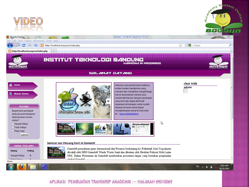 APLIKASI pembuatan transkrip akademik --- halimah 49010069