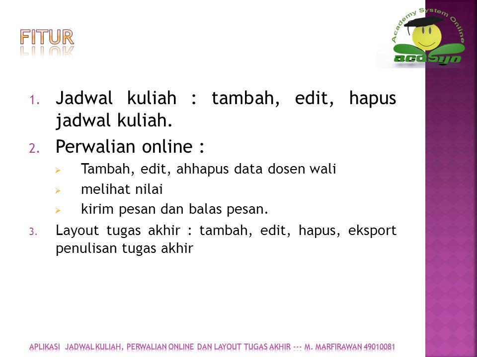FITUR Jadwal kuliah : tambah, edit, hapus jadwal kuliah.