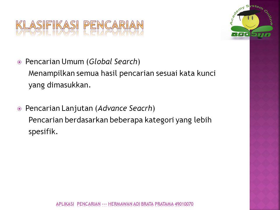 Klasifikasi Pencarian