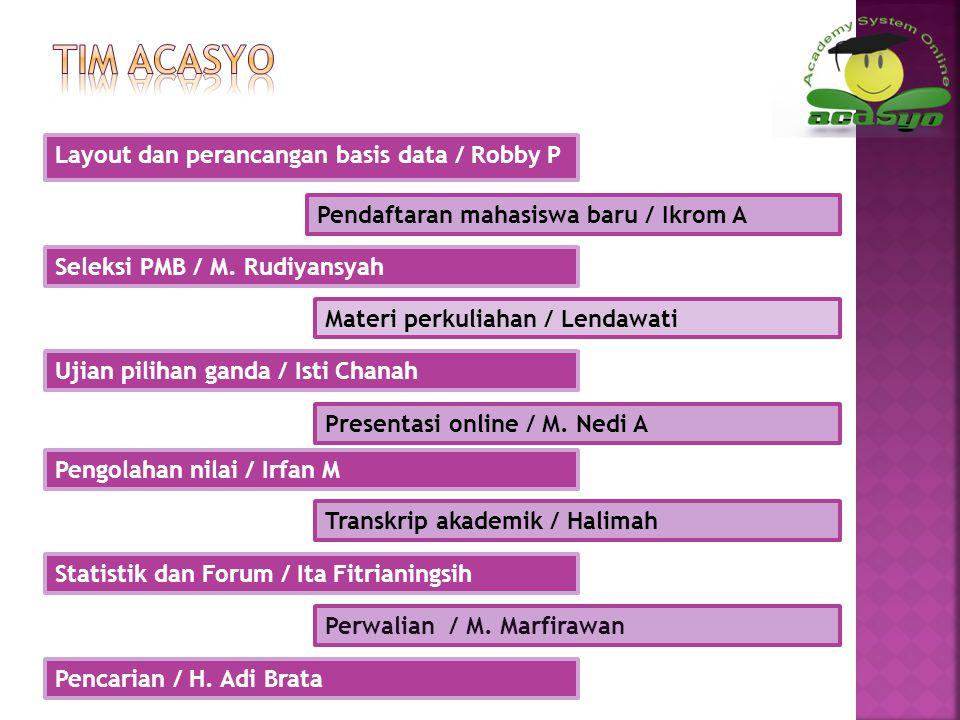 Tim acasyo Layout dan perancangan basis data / Robby P
