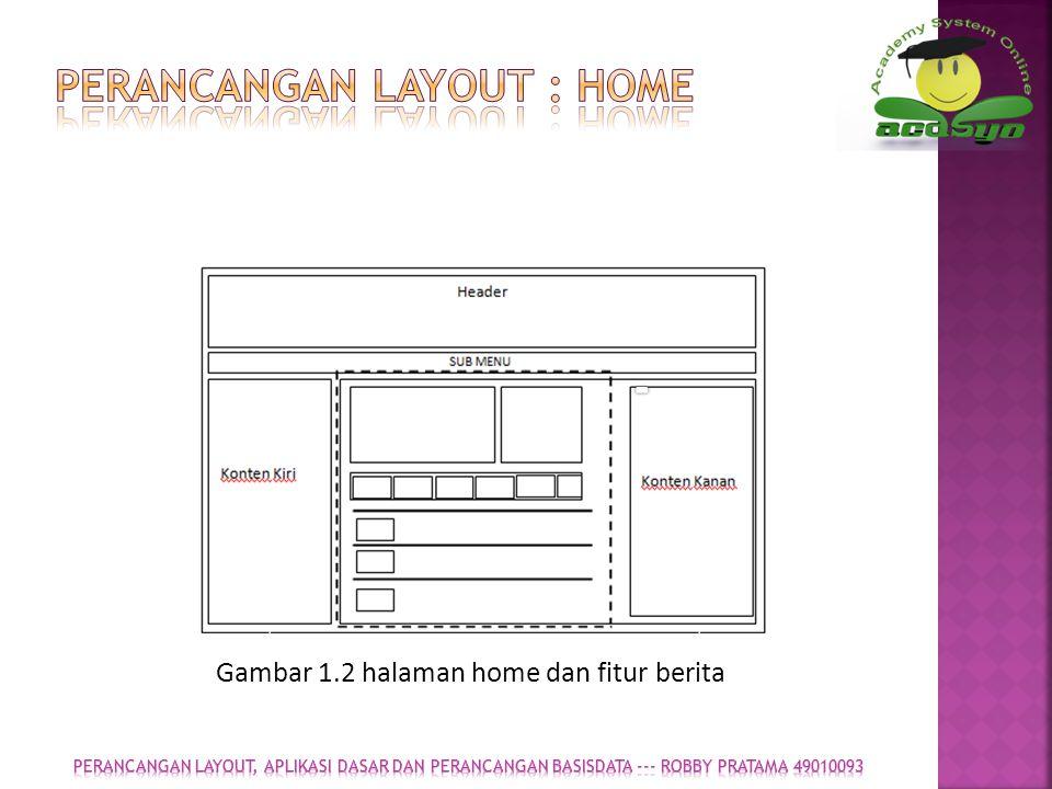 Perancangan layout : Home