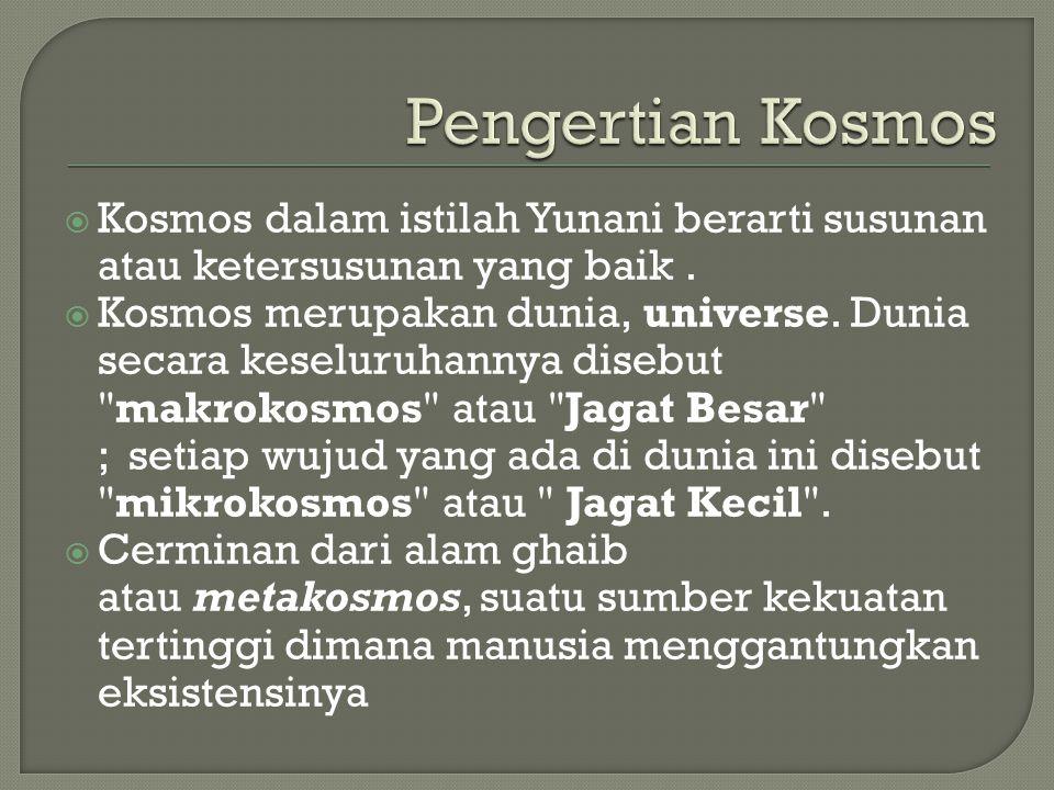 Pengertian Kosmos Kosmos dalam istilah Yunani berarti susunan atau ketersusunan yang baik .