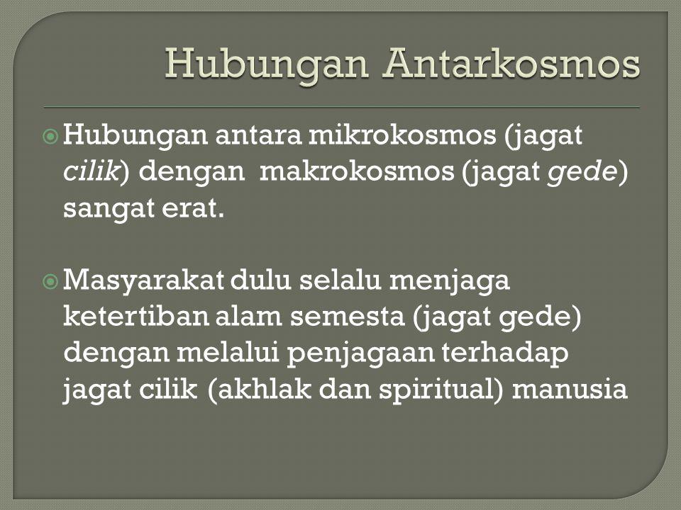Hubungan Antarkosmos Hubungan antara mikrokosmos (jagat cilik) dengan makrokosmos (jagat gede) sangat erat.