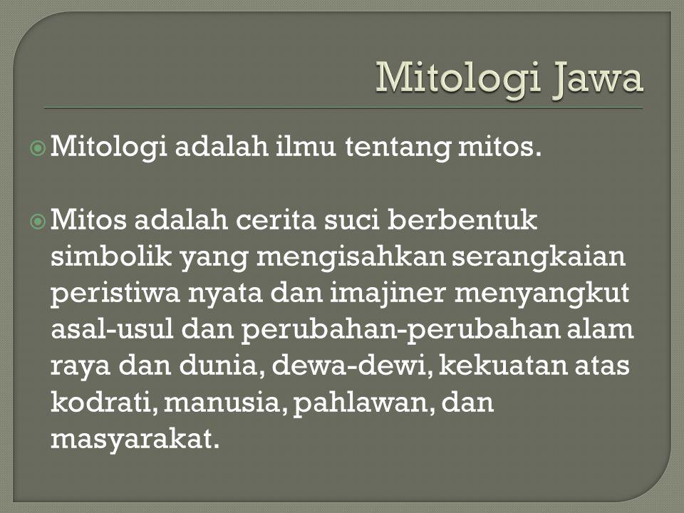 Mitologi Jawa Mitologi adalah ilmu tentang mitos.
