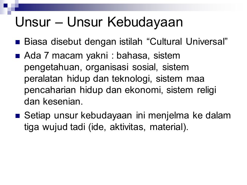Unsur – Unsur Kebudayaan