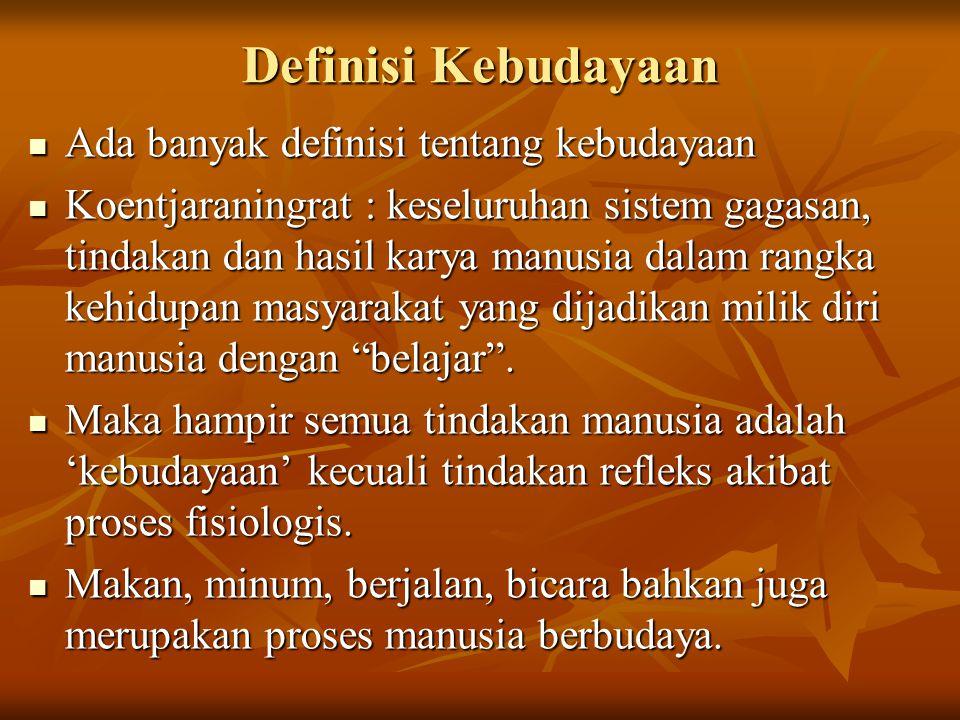 Definisi Kebudayaan Ada banyak definisi tentang kebudayaan