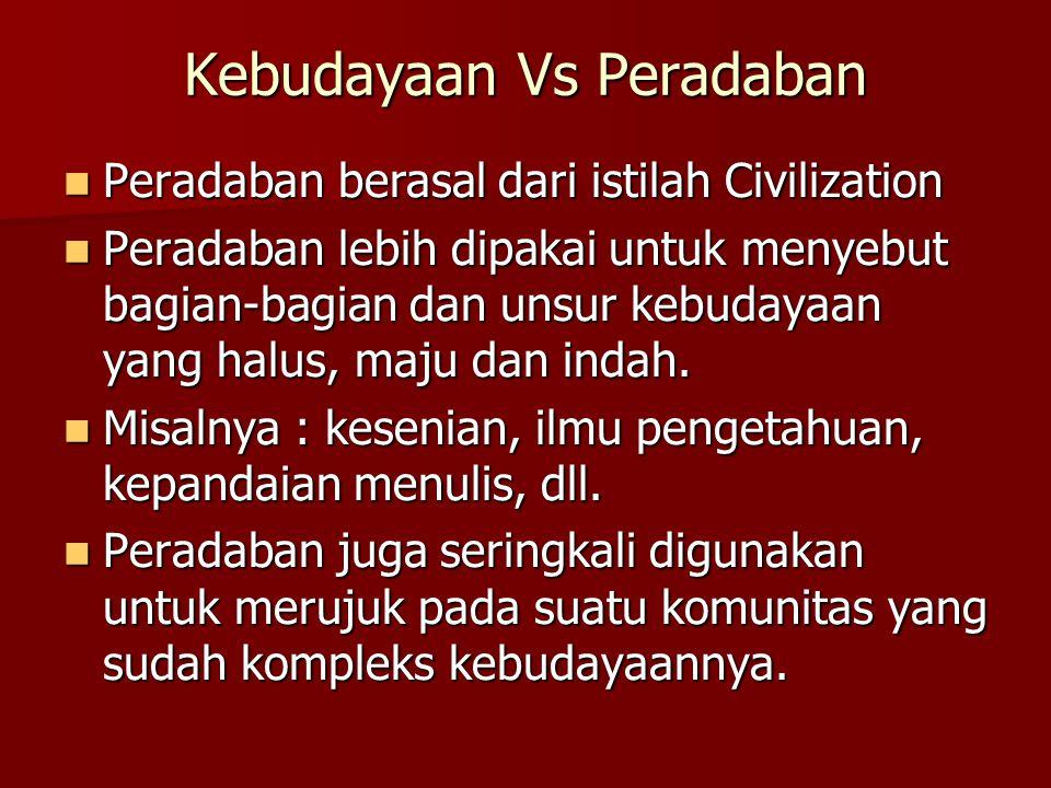 Kebudayaan Vs Peradaban