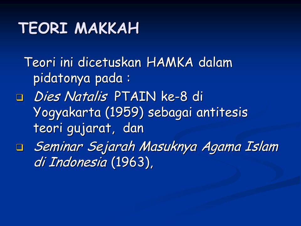 TEORI MAKKAH Teori ini dicetuskan HAMKA dalam pidatonya pada :