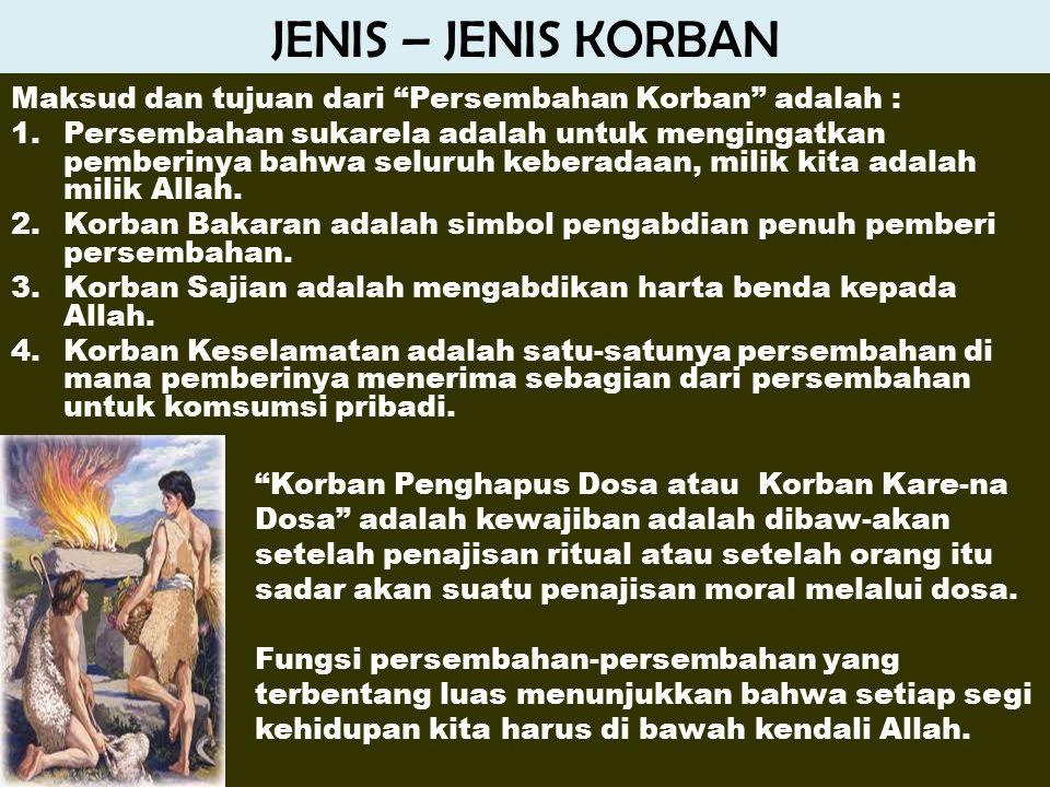 JENIS – JENIS KORBAN Maksud dan tujuan dari Persembahan Korban adalah :