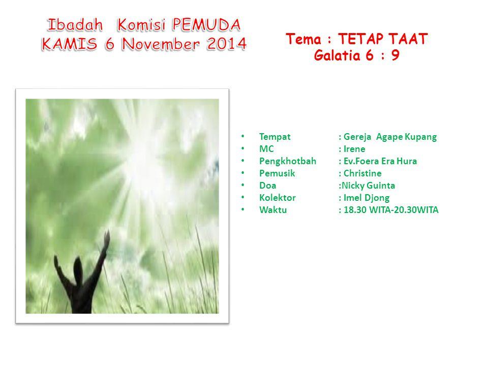 Ibadah Komisi PEMUDA KAMIS 6 November 2014