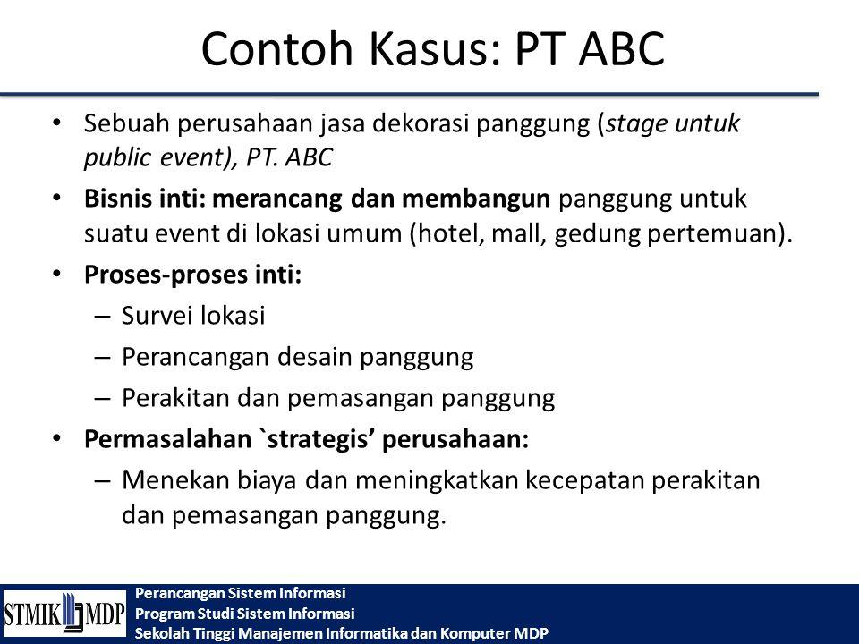 Contoh Kasus: PT ABC Sebuah perusahaan jasa dekorasi panggung (stage untuk public event), PT. ABC.