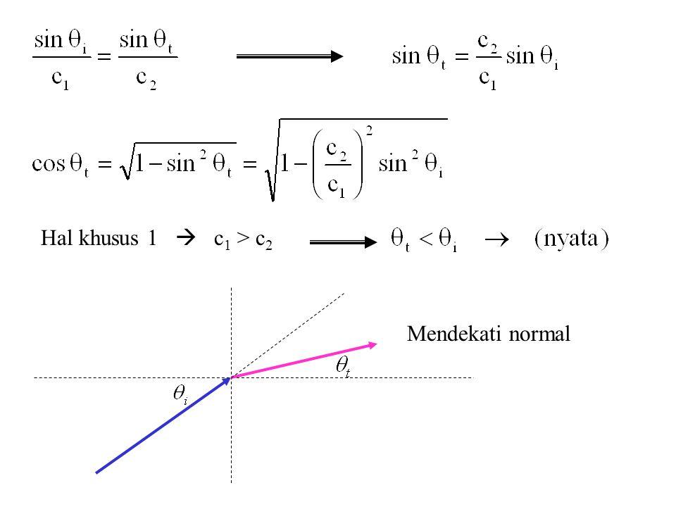 Hal khusus 1  c1 > c2 Mendekati normal