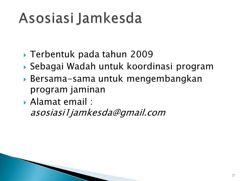 Asosiasi Jamkesda Terbentuk pada tahun 2009