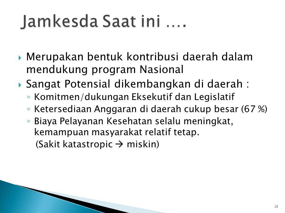 Jamkesda Saat ini …. Merupakan bentuk kontribusi daerah dalam mendukung program Nasional. Sangat Potensial dikembangkan di daerah :