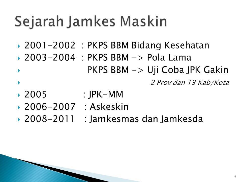 Sejarah Jamkes Maskin 2001-2002 : PKPS BBM Bidang Kesehatan