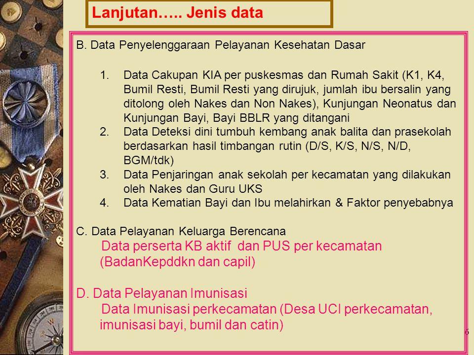 Lanjutan….. Jenis data B. Data Penyelenggaraan Pelayanan Kesehatan Dasar.