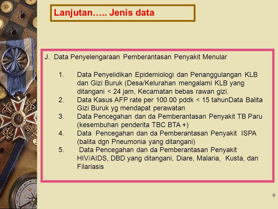Lanjutan….. Jenis data J. Data Penyelengaraan Pemberantasan Penyakit Menular.
