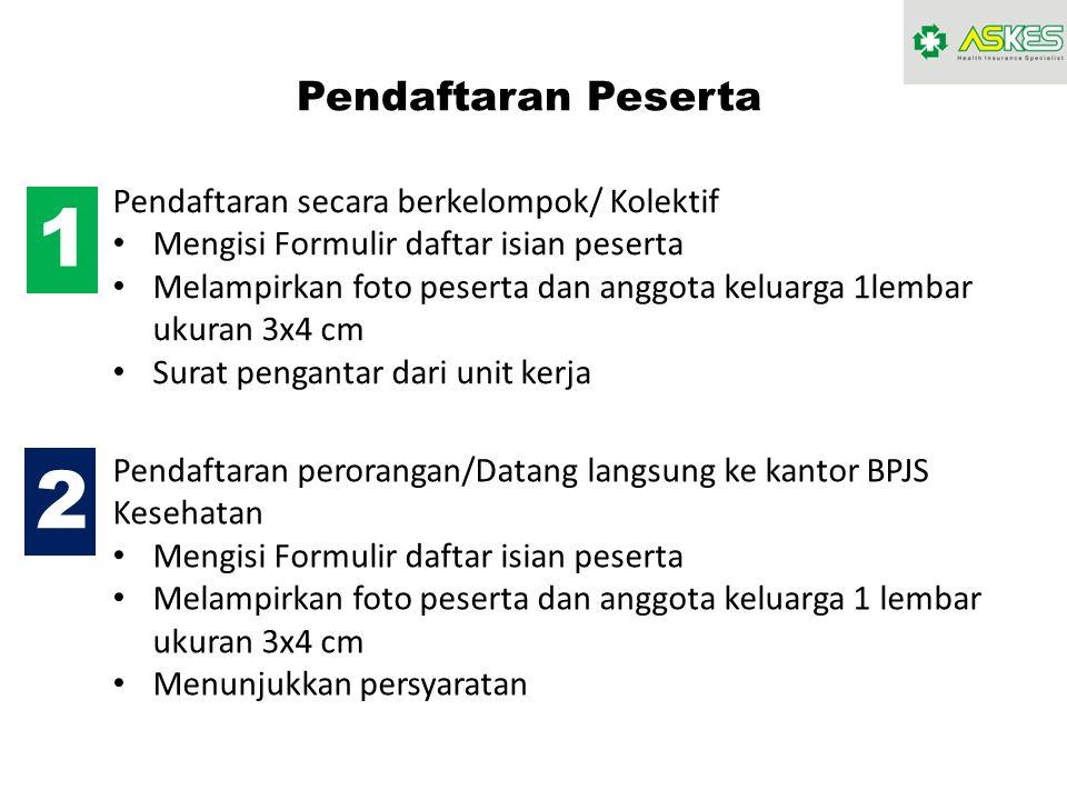 1 2 Pendaftaran Peserta Pendaftaran secara berkelompok/ Kolektif