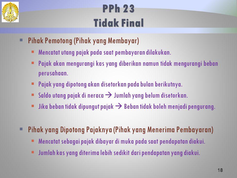 PPh 23 Tidak Final Pihak Pemotong (Pihak yang Membayar)