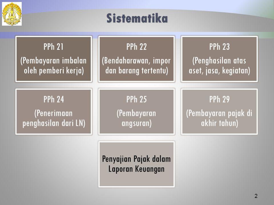 Sistematika PPh 21 (Pembayaran imbalan oleh pemberi kerja) PPh 22