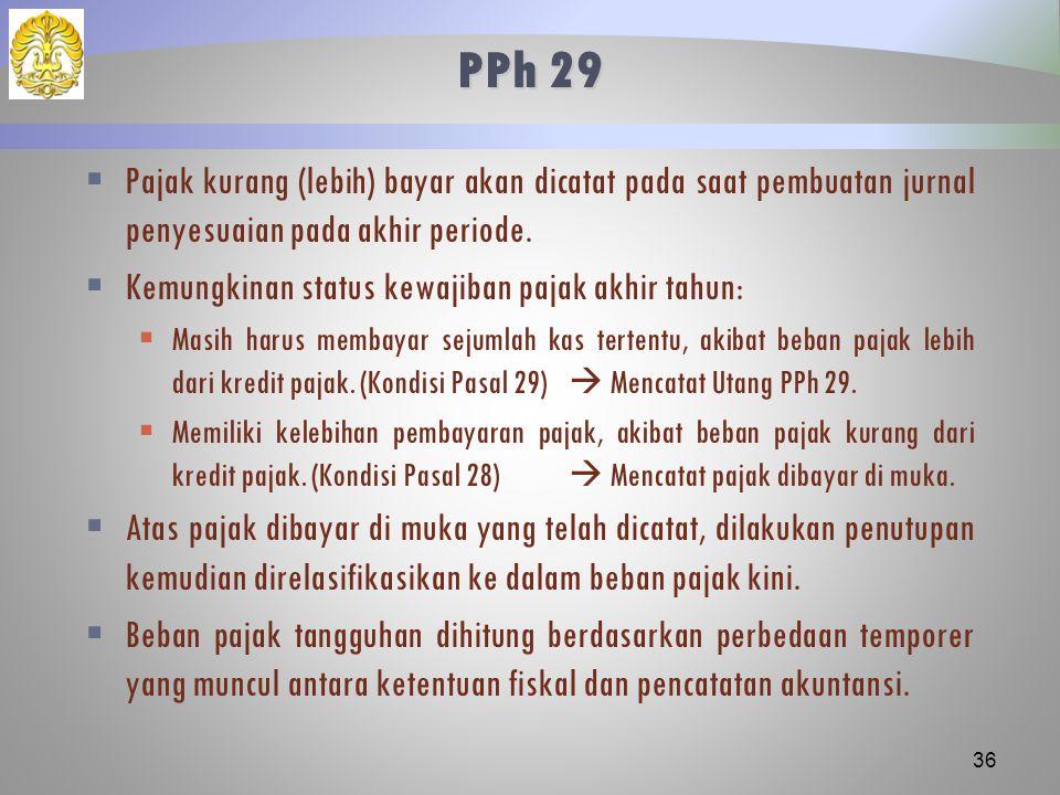 PPh 29 Pajak kurang (lebih) bayar akan dicatat pada saat pembuatan jurnal penyesuaian pada akhir periode.