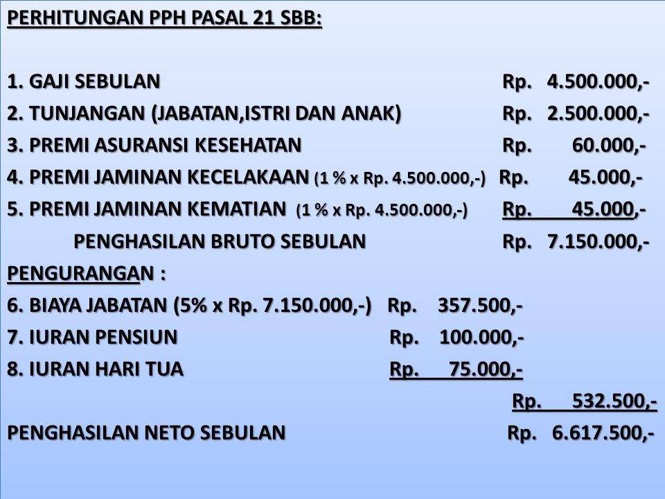 PERHITUNGAN PPH PASAL 21 SBB: 1. GAJI SEBULAN Rp. 4. 500. 000,- 2