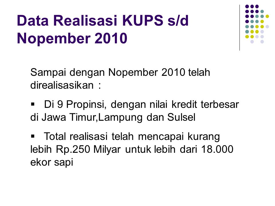 Data Realisasi KUPS s/d Nopember 2010