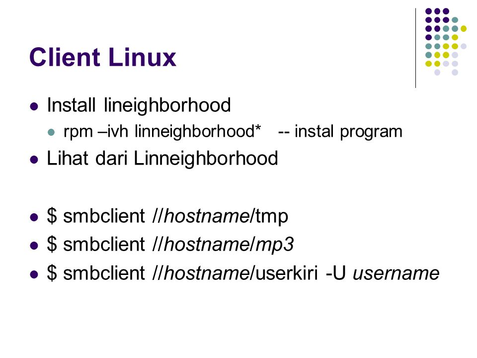 Client Linux Install lineighborhood Lihat dari Linneighborhood