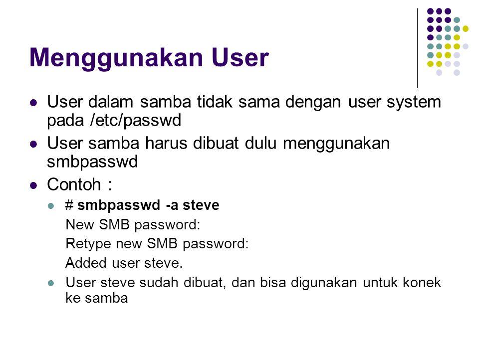 Menggunakan User User dalam samba tidak sama dengan user system pada /etc/passwd. User samba harus dibuat dulu menggunakan smbpasswd.