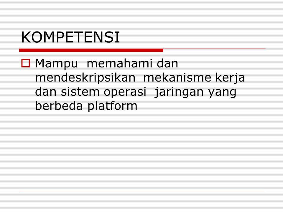 KOMPETENSI Mampu memahami dan mendeskripsikan mekanisme kerja dan sistem operasi jaringan yang berbeda platform.